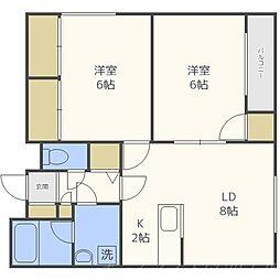 北海道札幌市中央区南二十四条西15丁目の賃貸マンションの間取り