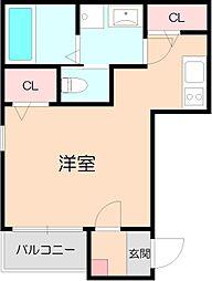 阪急宝塚本線 三国駅 徒歩5分の賃貸アパート 1階ワンルームの間取り