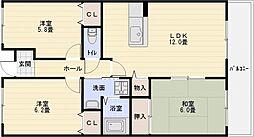 カーザdiポルタ[4階]の間取り