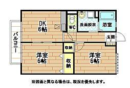 福岡県北九州市小倉南区葛原東2丁目の賃貸アパートの間取り
