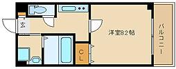 阪神本線 尼崎駅 徒歩8分の賃貸マンション 9階1Kの間取り