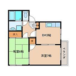 奈良県大和高田市大東町の賃貸アパートの間取り
