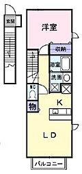愛媛県松山市畑寺3丁目の賃貸アパートの間取り