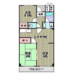 茱萸木壱番館[3階]の間取り