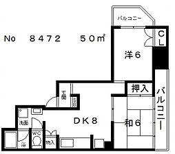 ワコーハイツ[6階]の間取り