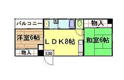 兵庫県神戸市中央区筒井町3丁目の賃貸マンションの間取り