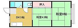 上野ハイツ 2階2DKの間取り