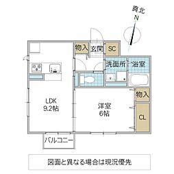 (仮)D-roomよしわら A 2階1LDKの間取り