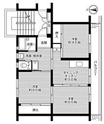 ビレッジハウス佐賀第二1号棟 4階3DKの間取り