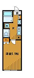 東京都国分寺市西恋ケ窪の賃貸アパートの間取り