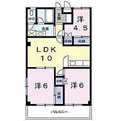 ガーデンコート大喜[3階]の間取り