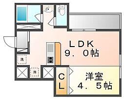 JR高徳線 栗林公園北口駅 徒歩5分の賃貸マンション 2階1LDKの間取り