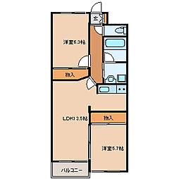 アールベール 4階2LDKの間取り