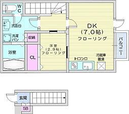 JR仙石線 宮城野原駅 徒歩5分の賃貸アパート 2階1DKの間取り