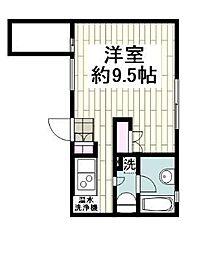 シャトー平塚 2階1Kの間取り