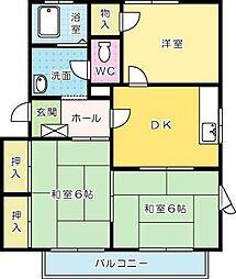 コモンシティ志井 D棟[202号室]の間取り