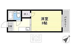 阪急千里線 関大前駅 徒歩7分の賃貸マンション 2階1Kの間取り