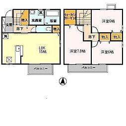 リビングタウン赤松[A101号室]の間取り