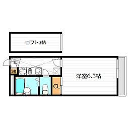 Osaka Metro今里筋線 清水駅 徒歩7分の賃貸アパート 2階1Kの間取り