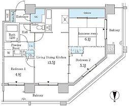 都営大江戸線 勝どき駅 徒歩5分の賃貸マンション 2階3LDKの間取り