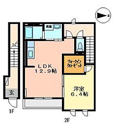 広島県福山市引野町南2の賃貸アパートの間取り