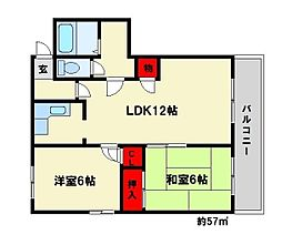 福岡県大野城市瓦田1丁目の賃貸マンションの間取り