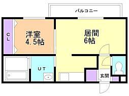 ecoa栄町 3階1DKの間取り