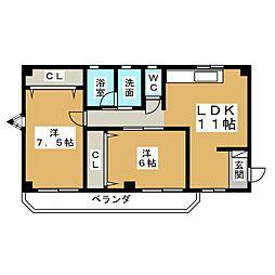 ハイツ大宮[3階]の間取り