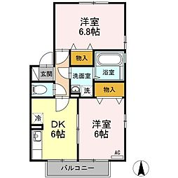 香川県高松市今里町の賃貸アパートの間取り