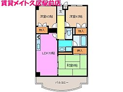 シャトーカワイ[3階]の間取り