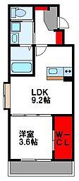 ラピスタ 1階1LDKの間取り
