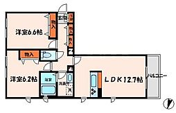 シャーメゾン彩I号館 3階2LDKの間取り