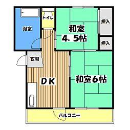 東京都青梅市東青梅5丁目の賃貸マンションの間取り