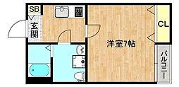 ドゥエリング関目 5階1Kの間取り