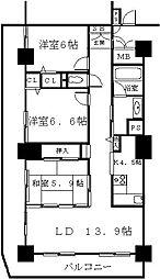 ベルドゥムールランドマーク秋田[23階]の間取り