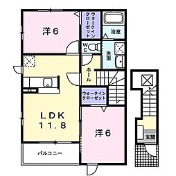 千葉県木更津市ほたる野2丁目の賃貸アパートの間取り