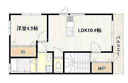 JR山陽本線 新井口駅 徒歩6分の賃貸アパート 2階1LDKの間取り
