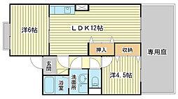 兵庫県姫路市大津区新町1丁目の賃貸アパートの間取り