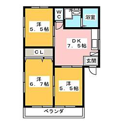 ライトハイツD棟[2階]の間取り
