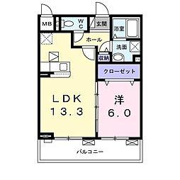 エスポワール4 3階1LDKの間取り
