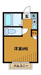 東京都国分寺市並木町の賃貸アパートの間取り