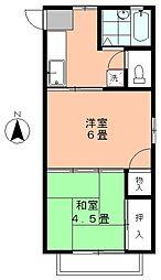 カーサYOUYOU[203号室]の間取り