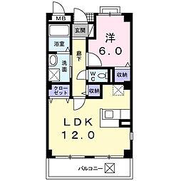 南海高野線 萩原天神駅 徒歩12分の賃貸マンション 2階1LDKの間取り