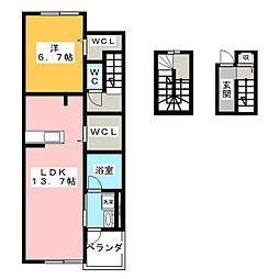ラウレア130ヒルズ 3階1LDKの間取り