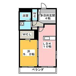 リバーサイド桜II 2階1LDKの間取り