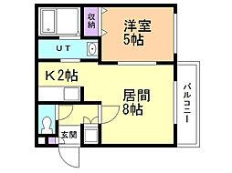 モンテリブロ札幌東 4階1LDKの間取り