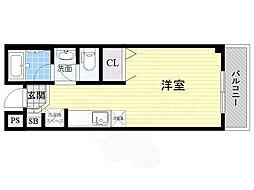 大阪モノレール彩都線 万博記念公園駅 徒歩12分の賃貸マンション 5階ワンルームの間取り