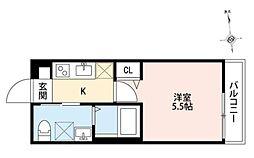 小田急小田原線 相武台前駅 徒歩10分の賃貸アパート 2階1Kの間取り