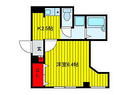 JR京浜東北・根岸線 王子駅 徒歩2分の賃貸マンション 2階1Kの間取り