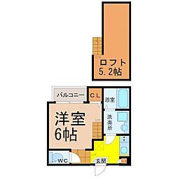 愛知県名古屋市西区上名古屋4丁目の賃貸アパートの間取り
